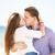 retrato · moço · mulher · beijando · praia · menina - foto stock © Massonforstock