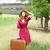 vörös · hajú · nő · lány · bőrönd · szabadtér · nők · divat - stock fotó © massonforstock