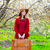 beautiful young woman with suitcase on the wonderful blooming tr stock photo © massonforstock