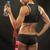 筋肉の · 若い女性 · 選手 · ロープ · 黒 · 戻る - ストックフォト © master1305