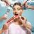 nő · vicces · olló · portré · fiatal · vörös · hajú · nő - stock fotó © master1305