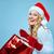 mooie · jonge · vrouw · kerstman · kleding · geschenk · Blauw - stockfoto © master1305