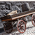 old wooden cart on background of brick wall stock photo © master1305