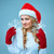 mooie · jonge · vrouw · kerstman · kleding · sneeuwvlokken · Blauw - stockfoto © master1305