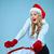 mooie · jonge · vrouw · kerstman · kleding · geschenk · grijs - stockfoto © master1305