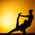 jóga · meditáció · sziluettek · emberek · naplemente · sziluett - stock fotó © master1305