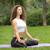 csinos · nő · jóga · meditáció · lótusz · pozició · zöld · fű - stock fotó © master1305
