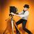 moço · retro · câmera · jovem · positivo · homem - foto stock © master1305