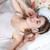 кровать · наушники · молодые · красивая · девушка - Сток-фото © master1305