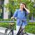 beautiful · girl · bicicleta · estrada · bastante · menina · azul - foto stock © master1305