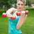 aranyos · lány · testmozgás · súlyzók · fehér · póló - stock fotó © master1305