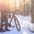 mountain biker with his bike on the snowy trail in the beautiful winter forest lit by sun stock photo © maxpro