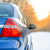 blue car on the winter snowy road at sunset close up rear view travel and drive safe concept stock photo © maxpro