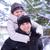 invierno · Pareja · feliz · a · cuestas · nieve · sonriendo - foto stock © maxpro