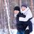 winter · paar · gelukkig · op · de · rug · sneeuw · glimlachend - stockfoto © maxpro
