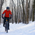 mountain biker riding bike on the snowy trail in beautiful winter forest stock photo © maxpro