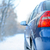 blue car on the winter snowy road close up rear view travel and drive safe concept stock photo © maxpro