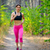 young woman running on the trail in the beautiful wild forest active lifestyle concept space for t stock photo © maxpro