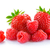 heap of sweet strawberries and juicy raspberries isolated on white background summer healthy food c stock photo © maxpro