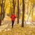 Young Man Running on Sunny Trail in the Beautiful Autumn Oak Forest stock photo © maxpro