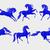 collectie · Blauw · paarden · gestileerde · symbool · 2014 - stockfoto © Mayamy