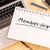 メンバーシップ · 文字 · ノートブック · デスク · 3dのレンダリング - ストックフォト © mazirama