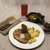 business lunch petite wiener schnitzel with boiled potatoes and ketchup served on a white porcela stock photo © mcherevan