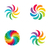 bright colors rainbow flower logo set stock photo © mcherevan