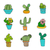 Hand Drawn Cactus Icons Set. 9 different types of cactus. stock photo © mcherevan