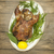 festive roast duck on a platter with dill on a wooden table stock photo © mcherevan