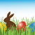 chocolate bunny with easter eggs in grass vector stock photo © mcherevan