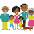 happy african american family of four members parentstheir son and daughter lovely cartoon charac stock photo © mcherevan