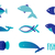 vector illustration of blue colors fishes abstract fish logo set for seafood restaurant or fish sho stock photo © mcherevan