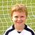 voetballer · Blauw · bal · hoofd · witte · sport - stockfoto © meinzahn