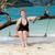mulher · praia · tropical · silhueta · corda · balançar · pôr · do · sol - foto stock © meinzahn