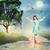 violist · maan · licht · vlinders · vrouw · landschap - stockfoto © melpomene
