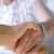 senior · vrouw · holding · handen · gelukkig · hand · home - stockfoto © melpomene