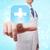 primeros · auxilios · icono · azul · botón · cruz - foto stock © melpomene