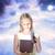 feliz · loiro · menina · abertura · apresentar · caixa · de · presente - foto stock © melpomene