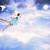 little girl flying into the blue night sky stock photo © melpomene