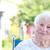 feliz · senior · senhora · cadeira · de · rodas · sorridente · fora - foto stock © melpomene