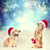 two dachshund dogs with santa hats together stock photo © melpomene
