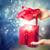 handen · geschenk · pakket · Blauw · lint - stockfoto © melpomene