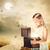 blonde girl opening a treasure box stock photo © melpomene