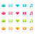 coloré · film · musique · icônes · rétro · vecteur - photo stock © mictoon