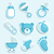 Blue Baby Shower Icons stock photo © Mictoon