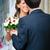 noivo · noiva · buquê · de · casamento · sorrir · casamento - foto stock © mikhail_ulyannik
