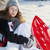 girl with red plastic sled in a snowy park stock photo © miklav