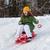 Girl rides sledge down hill stock photo © MikLav