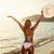 lány · fehér · bikini · sétál · tengerpart · szalmakalap - stock fotó © milanmarkovic78